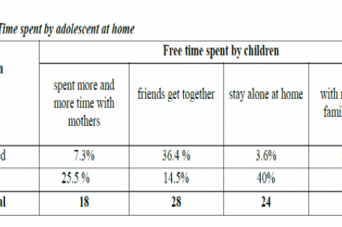 Free Time spent by adolescent at home